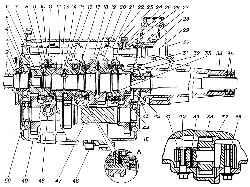 Коробка передач (продольный разрез)